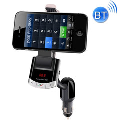 BT8118 Car Bluetooth FM Transmitter with Holder Function & Remote Control Support LCD Display / Hands-free / AUX (Black)