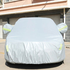 Outdoor Universal Anti-Dust Sunproof 2-Compartment Sedan Car Cover with Warning Strips Fits Cars up to 3.7m(144 Inches) In Length