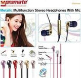 Promate Chrome Metallic Multifunction Stereo Headphones With Mic - Champagne - Zasttra.com