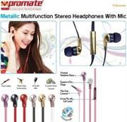 Promate Chrome Metallic Multifunction Stereo Headphones With Mic - Champagne
