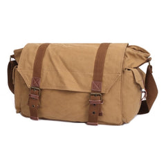 Multifunction Canvas Messenger Cameras Bags Travel Crossbody Shoulder Tablet Bag with Interior Lining Size: 38x28x18cm(Khaki)
