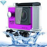 N9 1080P HDMI Waterproof Sport Action Camera Professional Portable 2.0 inch Screen 140 Degrees Wide Angle Lens Support WiFi Function Water Resistant Depth: 30M(Purple)