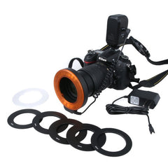 Circular LED Flash Light with 48 LED Lights & 6 Adapter Rings(49mm/52mm/55mm/58mm/62mm/67mm) for Macro Lens(Orange)