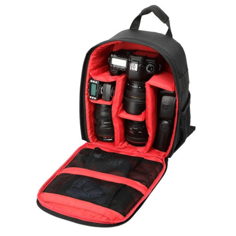 DL-B028 Portable Casual Style Waterproof Scratch-proof Outdoor Sports Backpack SLR Camera Bag Phone Bag for GoPro SJCAM Nikon Canon Xiaomi Xiaoyi YI iPad Apple Samsung Huawei Size: 27.5 * 12.5 * 34 cm(Red)