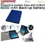 Promate Dash-Air Protective Leather Case with In-Built 8000 mAh Back-up battery-DarkBlue - Zasttra.com