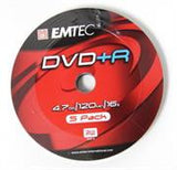 Emtec DVD+R 16X Speed 5pk Non-Printable