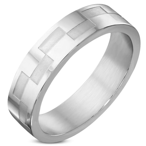 6mm Stainless Steel Checker/ Grid Wedding Flat Band Ring - US 12
