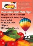 E-Box Rough Satin Photo Paper- Microporous Coated Heavy Duty- Single sided A4 210x297mm-260gsm-20 Sheets per pack