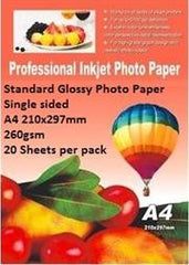 E-Box Standard Glossy Photo Paper- Single sided A4 210x297mm-260gsm-20 Sheets per pack