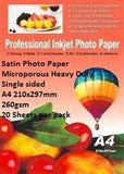 E-Box Satin Photo Paper- Microporous Coated Heavy Duty- Single sided A4 210x297mm-260gsm-20 Sheets per pack