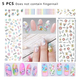 DS209-222 5 PCS 14 Patterns DIY Design Beauty Water Transfer Harajuku Nails Art Sticker Nail Art Decoration Accessories Random Color Delivery