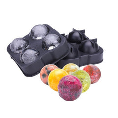Ball Shape 4-Grid Silicone Ice Cube Mold Size: about 7.5cm