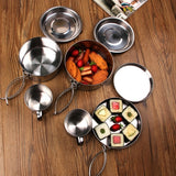 8 in 1 Portable Stainless Steel Camping Tableware Set