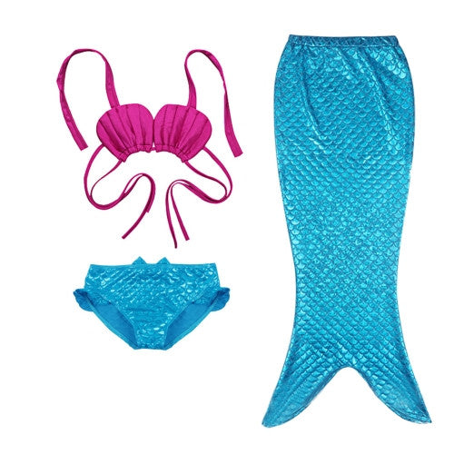 Girl Mermaid Tail 3 Pieces Swimmable Bikini Set Cute Swimsuit Size  120cm d9570b8e6f4