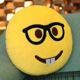 Glasses and Teeth Face Creative Emoji Throw Pillow Back Pillow Size: 33cm x 33cm