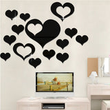 5 in 1  Love Shape Mirror Art Decor Wall Stickers Living Room Decoration Wall Decoration Sets(Black)	-HC8830B
