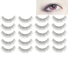 10 Pairs 216 Criss-Cross Transparent Stem Natural Makeup Lashes Charming Long Thick Black False Eyelashes