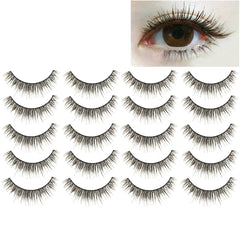 10 Pairs M14 Criss-Cross Cotton Stem Natural Makeup Lashes Charming Long Thick Black False Eyelashes