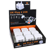 9 PCS UK Plug HAWEEL 4 USB Ports Max 3.1A Travel Charger Kit with Display Stand Box for iPhone 6 & 6 Plus / Other Mobile Phones and Tablet PC