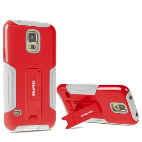 HHAWEEL for Samsung Galaxy S5 / G900 Dual Layer TPU Plastic Combo Case with Kickstand(Red)
