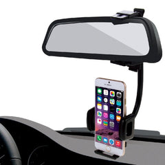 HAWEEL 2 in 1 Universal Car Rear View Mirror Stand Mobile Phone Mount Holder for iPhone 7 Plus / iPhone 7 / iPhone 6 & 6 Plus / iPhone 5 & 5S & 5C / Smartphone Clamp Size: 40mm-80mm(Black)
