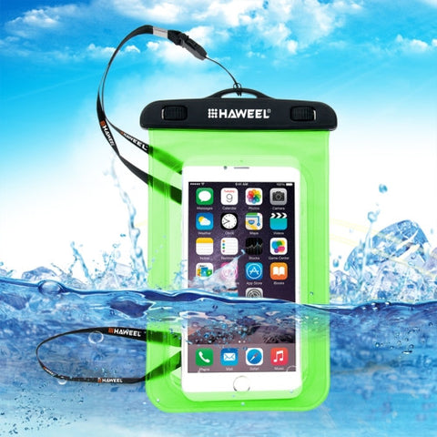 HAWEEL Transparent Universal Waterproof Bag with Lanyard for iPhone 7 Plus / iPhone 7 / iPhone 6 & 6 Plus / 6S & 6S Plus Samsung Galaxy S6 / S5 / Note 5(Green)