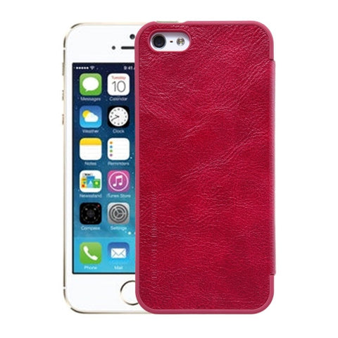 NILLKIN QIN Series For iPhone SE & 5s & 5 Business Style Horizontal Flip Leather Case with Card Slot(Red)