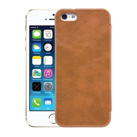 NILLKIN QIN Series For iPhone SE & 5s & 5 Business Style Horizontal Flip Leather Case with Card Slot(Brown)