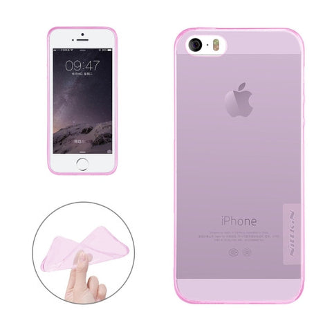 NILLKIN Nature TPU Case for iPhone 5 & 5s & SE Stylish 0.6mm Ultrathin Clear Color Soft Protective Case Back Cover(Pink)