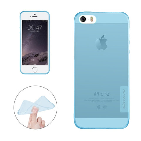 NILLKIN Nature TPU Case for iPhone 5 & 5s & SE Stylish 0.6mm Ultrathin Clear Color Soft Protective Case Back Cover(Blue)
