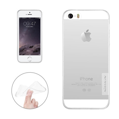 NILLKIN Nature TPU Case for iPhone 5 & 5s & SE Stylish 0.6mm Ultrathin Clear Color Soft Protective Case Back Cover(White)
