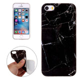 For iPhone 5 & 5s & SE Black Marbling Pattern Soft TPU Protective Back Cover Case