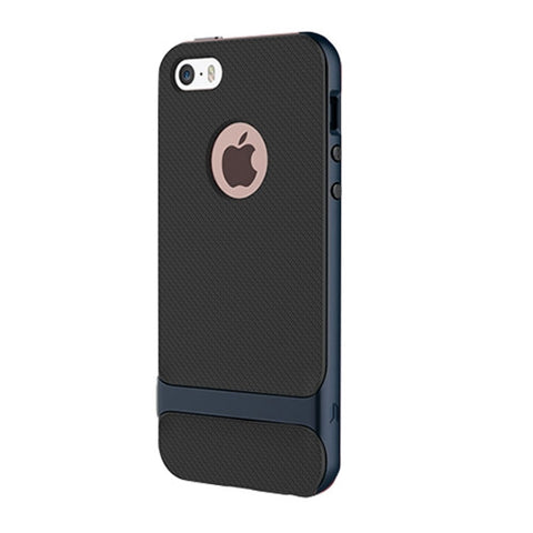 Rock Royce Series for iPhone SE & 5s & 5 Business Style TPU + PC Protective Case(Navy Blue)