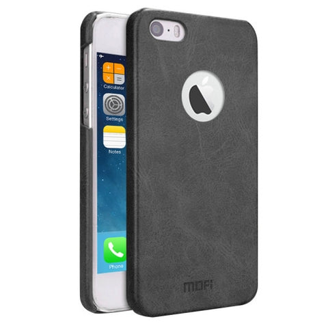 MOFI for iPhone 5 & 5s & SE Crazy Horse Texture Leather Surface PC Protective Case Back Cover(Black)