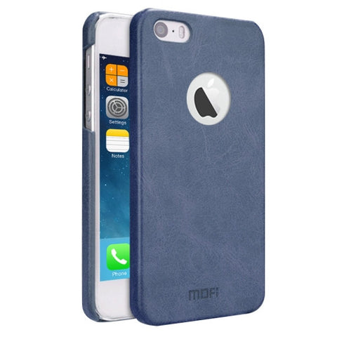 MOFI for iPhone 5 & 5s & SE Crazy Horse Texture Leather Surface PC Protective Case Back Cover(Dark Blue)
