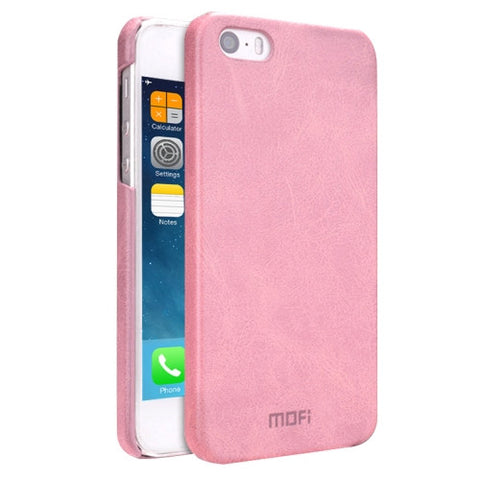 MOFI for iPhone 5 & 5s & SE Crazy Horse Texture Leather Surface PC Protective Case Back Cover(Pink)
