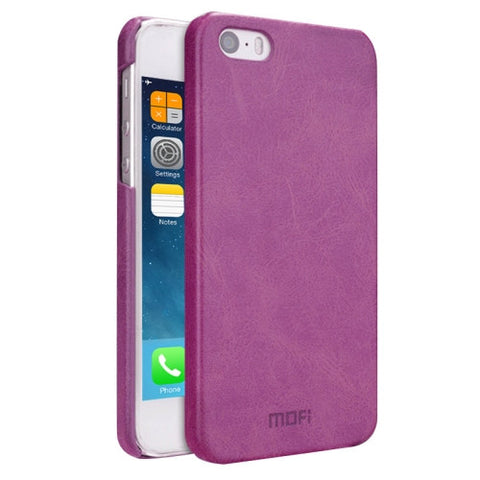 MOFI for iPhone 5 & 5s & SE Crazy Horse Texture Leather Surface PC Protective Case Back Cover(Purple)