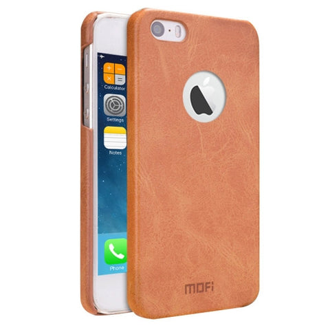 MOFI for iPhone 5 & 5s & SE Crazy Horse Texture Leather Surface PC Protective Case Back Cover(Brown)