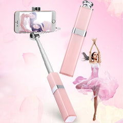 S1 Lipstick Style Wire Controlled Selfie Stick Monopod Extendable Handheld Holder for iOS & Android Phone Max Length: 60cm(Rose Gold)