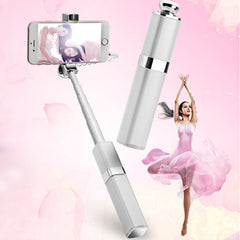 S1 Lipstick Style Wire Controlled Selfie Stick Monopod Extendable Handheld Holder for iOS & Android Phone Max Length: 60cm(Silver)