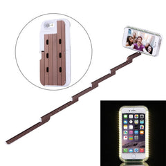 For iPhone 6 & 6s Extendable Handheld Selfie Stick Case with Holder & LED Lights Max Extension Length: 53cm(Coffee)