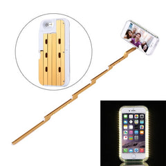 For iPhone 6 & 6s Extendable Handheld Selfie Stick Case with Holder & LED Lights Max Extension Length: 53cm(Gold)