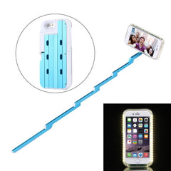 For iPhone 6 & 6s Extendable Handheld Selfie Stick Case with Holder & LED Lights Max Extension Length: 53cm(Blue)