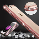 For iPhone 6 Plus & 6s Plus Diamond Bling Luxury Plating PC Frame Transparent TPU Protective Case(Rose Gold)