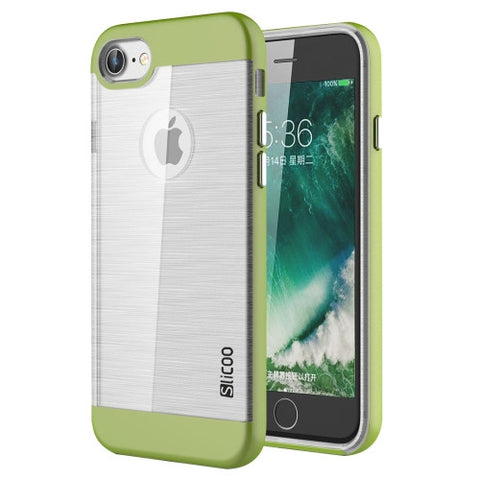 SLiCOO for iPhone 7 Concise Fashion Separable Dichromatic Brushed Texture Transparent TPU + Electroplating PC Combination Case(Green)