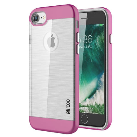 SLiCOO for iPhone 7 Concise Fashion Separable Dichromatic Brushed Texture Transparent TPU + Electroplating PC Combination Case(Magenta)
