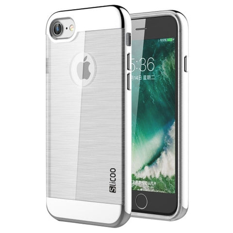 SLiCOO for iPhone 7 Concise Fashion Separable Dichromatic Brushed Texture Transparent TPU + Electroplating PC Combination Case(Silver)