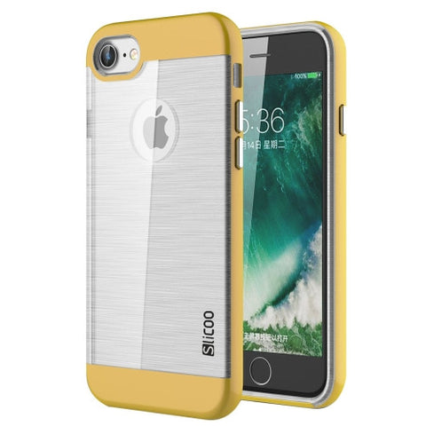 SLiCOO for iPhone 7 Concise Fashion Separable Dichromatic Brushed Texture Transparent TPU + Electroplating PC Combination Case(Yellow)
