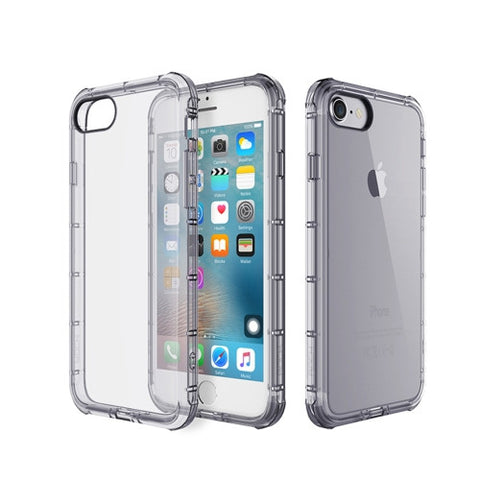 Rock for iPhone 7 Fence Series Drop Protection Case Transparent Soft TPU Air Sacs Shockproof Protective Back Case(Black)