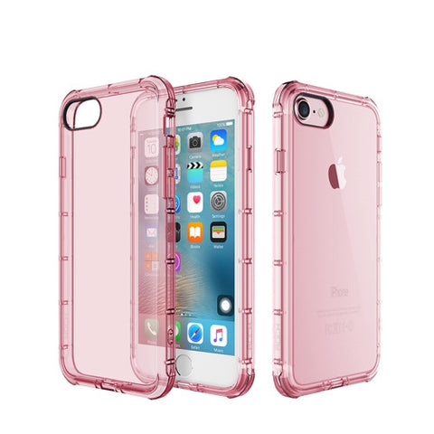 Rock for iPhone 7 Fence Series Drop Protection Case Transparent Soft TPU Air Sacs Shockproof Protective Back Case(Pink)